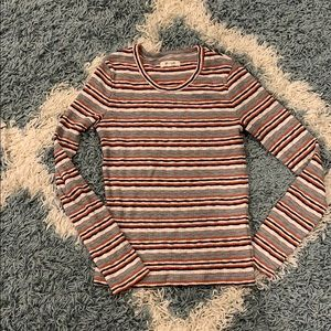 Madewell striped long sleeve tee w button detail